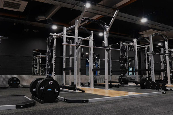 Modern gym with free weights area
