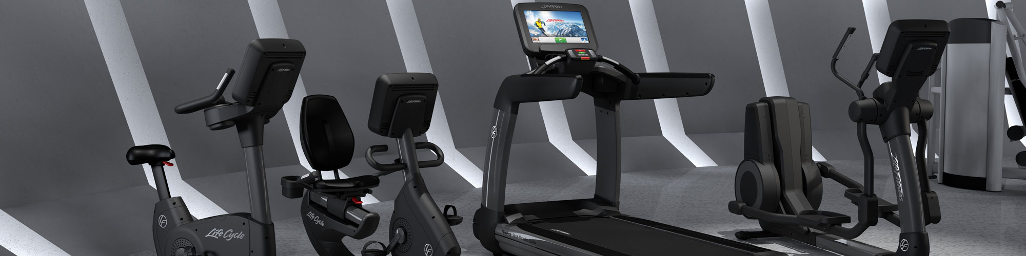 Commercial grade exercise bike, treadmill and cross trainer