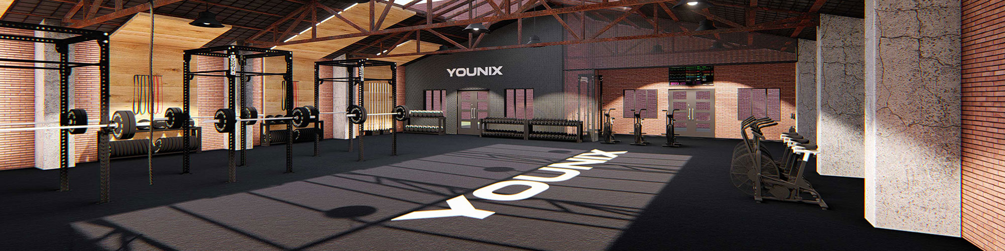 Modern gym design with Younix equipment