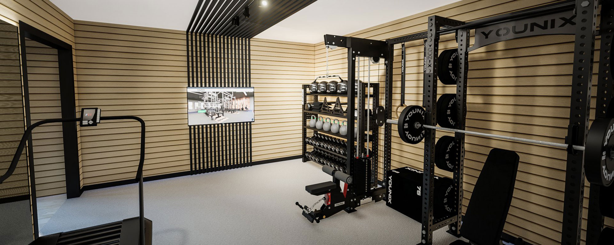 Weights and fitness machines in gymnasium
