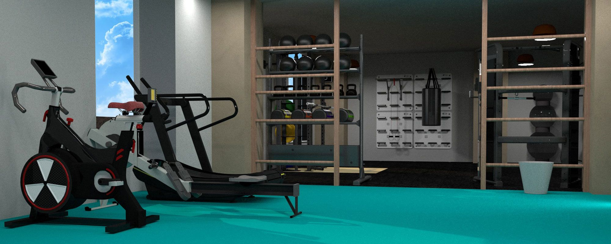 Overhead view of new gym with wide range of fitness machines